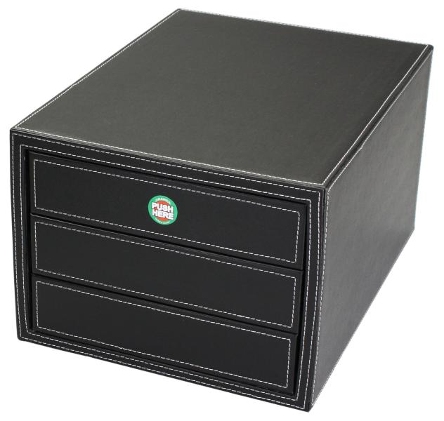 Faux Leather Jewelry Boxes One Touch 3drawer Jewelry Organizer