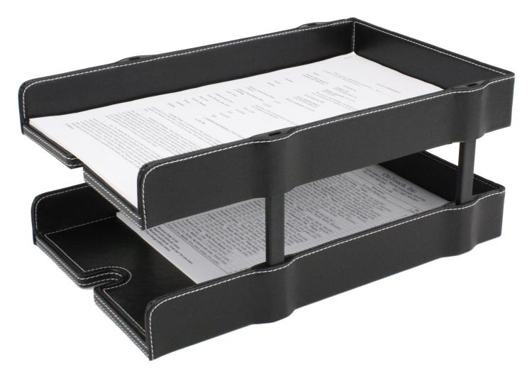 Faux Leather Desk Accessories Stackable Document Tray